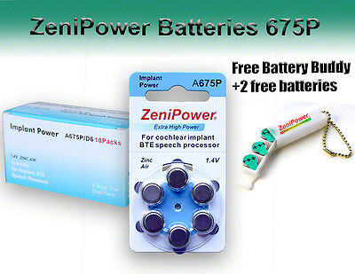 60 ZeniPower Hearing Aid Batteries Size 675P Cochlear + Holder/2 Extra Batteries