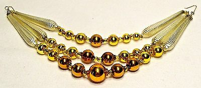 Nice~3 Strand~Mold Blown Glass~Gold/Bronze CHRISTmas Garland~CZECH REPUBLIC
