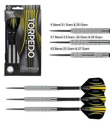Harrows Torpedo 80% Tungsten Steel Tip Darts - Knurled Barrels for Extra Grip