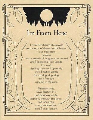I'M FROM HERE - POSTER  Wicca Pagan Witch Witchcraft Goth BOOK OF SHADOWS