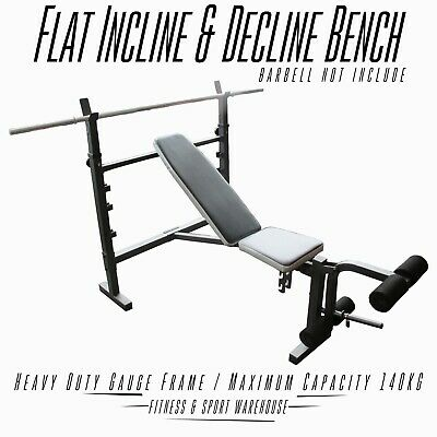 FID Bench Press Flat Incline Decline Adjustable Wide  Home Gym Fitness Exercise