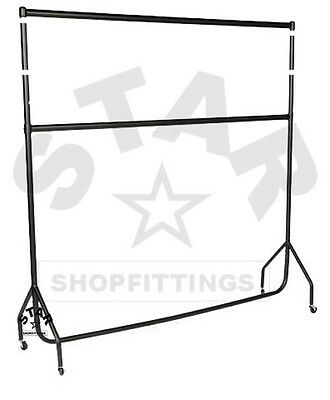 DOUBLE 4Ft Long x 5ft High HEAVY DUTY CLOTHES GARMENT DRESS RAIL RACK STAND NEW