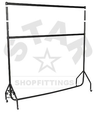DOUBLE 6Ft Long x 5ft High HEAVY DUTY CLOTHES GARMENT DRESS RAIL RACK STAND NEW