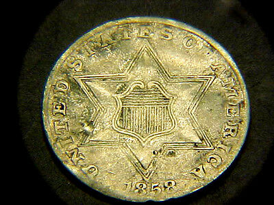 FREE SHIPPING RARE 1858 3c THREE CENT SILVER PIECE XF BUY IT NOW OR MAKE OFFER