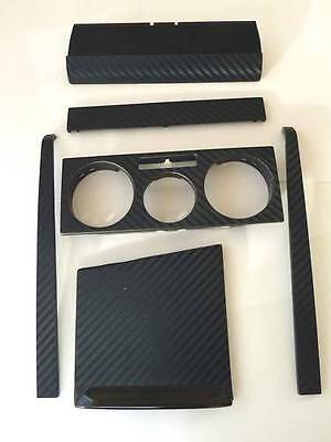 3D Black Carbon Fibre effect Radio Console + Ashtray Set to fit VW Golf Mk4