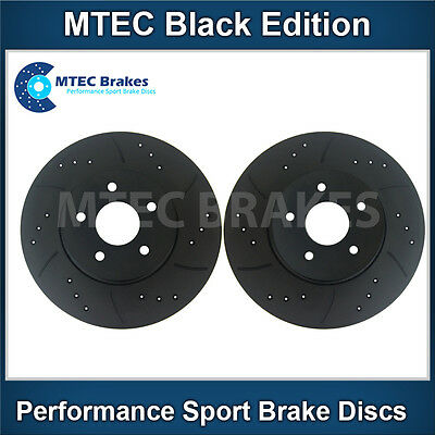 Astra 1.7 CDTi 4 Stud 05/04- Front Brake Discs Drilled Grooved Mtec BlackEdition