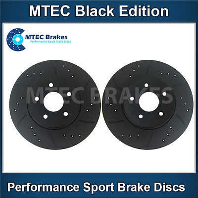 Fiat 500 1.4 Abarth 02/09- Front Brake Discs Drilled Grooved Mtec Black Edition