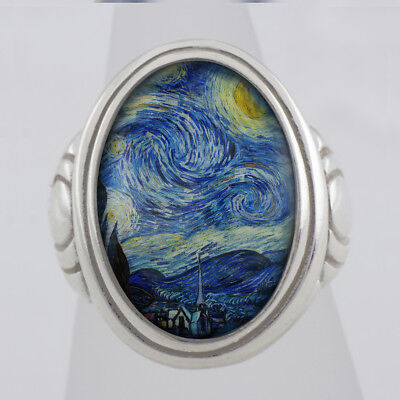 Starry Night Vincent Van Gogh sterling ring (Sizes 5-14 w/ half sizes)