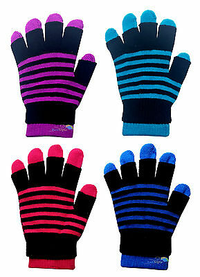 2 in 1 Stripy Magic Gloves Assorted Colours Stretchy One Size Acrylic NWT