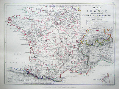 FRANCE Map Illustrating the Campaigns of 1793 etc. JOHNSTON 1866