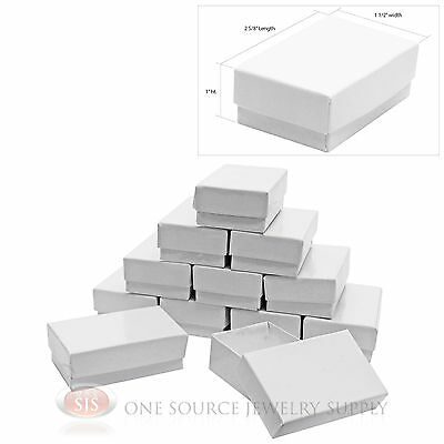 """12 Gloss White Cotton Filled Gift Boxes 2 5/8"""" x 1 1/2"""""""