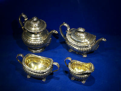 Antique English Sterling Silver Tea Coffee set  London1820 Rebecca Emes & Edward