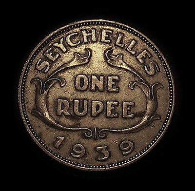 1939 Seychelles 1 Rupie Silver Coin High Grade 1 Year Type Only 90 000