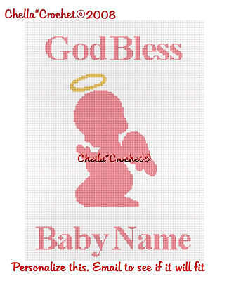 Personalize Baby Girl Angel Pink Afghan Crochet Pattern