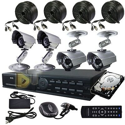 8CH 8 CHANNELS Home Video Surveillance CCTV DVR Security System 4 Outdoor Camera
