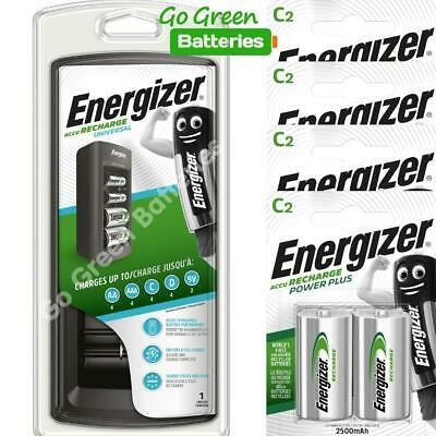 Energizer Universal Charger + 8 x C Size 2500 mAh Batteries. 3Hr AA AAA C D & 9V