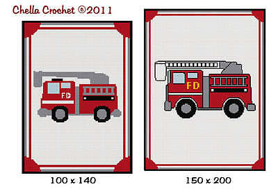 FireTruck Fire Truck Small or  Large  Choose Size Afghan Crochet Pattern