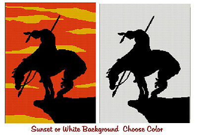 End Of Trail Silhouette Sunset or White Background Afghan Crochet Pattern Graph