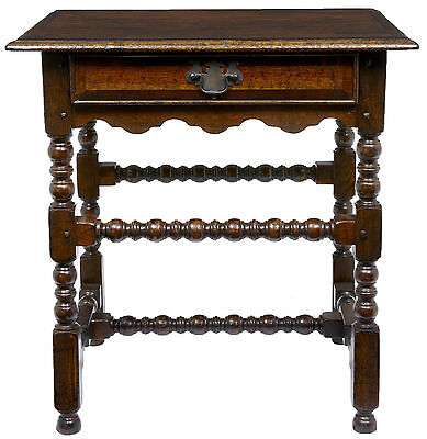 ENGLISH BOBBIN TURNED OAK SIDE TABLE