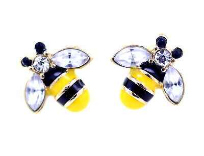 Vintage Art Deco style gold tone enamel bee stud earrings with crystal