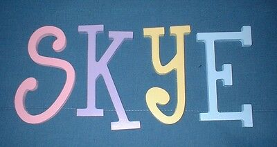 """Wooden Wall Letters 10"""" size Painted Wood Decor ALL CAPITAL Thin-Whimsical"""