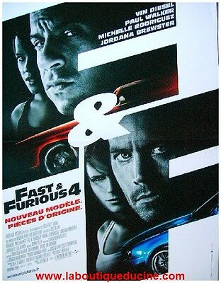 FAST AND FURIOUS 4 Affiche Cinéma 53x40 Movie Poster VIN DIESEL PAUL WALKER