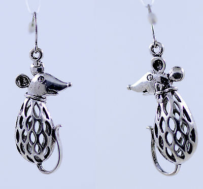 Vintage style 3D double sided antique silver coloured mouse earrings