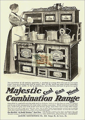 REPRINT PICTURE of old ad MAJESTIC COMBINATION RANGE COAL GAS WOOD 1899 5x7