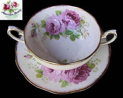 Royal Albert AMERICAN BEAUTY Soup Coupe / Bowl & Saucer 1st Eng c1940