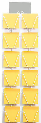 Twelve pocket wall rack for 7 inch square greeting cards. Wire display stand