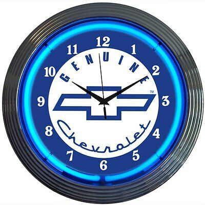 Genuine Chevy Sevice classic Chevrolet Auto Car Neon Sign Clock