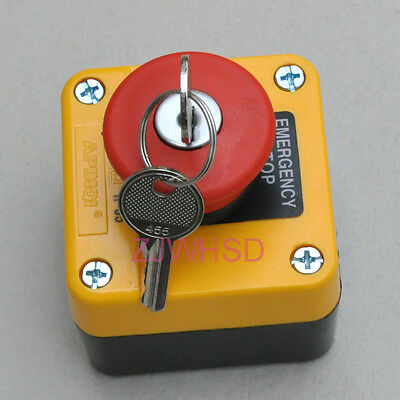 Waterproof Emergency Stop Push Button Switch With Key 660V 10A Normally Closed