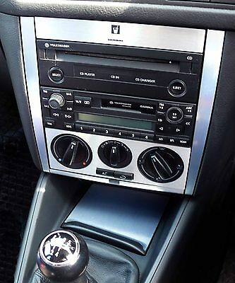 Brushed Aluminium effect Radio Console Set  to fit VW Golf Mk4 Jetta TDI GTI R32