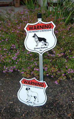 7 x 8 Inch Security Aluminum Dog Signs - Beagle to Bouvier des Flandres Breeds