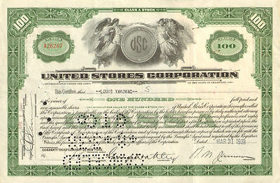 United Stores Corporation   old stock certificate share scripophily