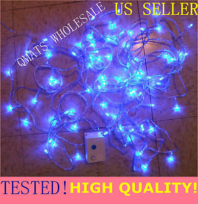 30FT=10M 100 LED Christmas Wedding Light  White Wire String 8 FUNCTION US Seller