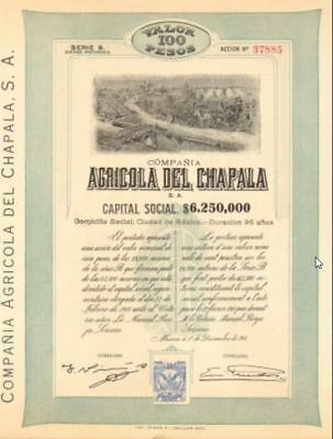 Agricola del Chapala Mexico   Mexican bond certificate