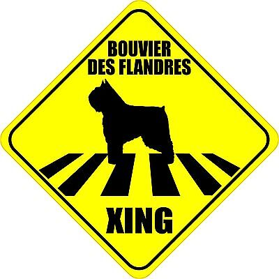 "Bouvier Des Flandres Xing Crossing Road Sign 5"" Dog Silhouette Sticker"