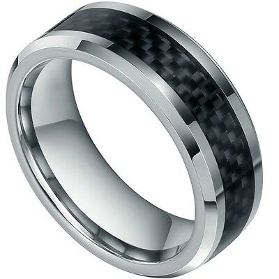 8mm New Mens Black Carbon Fiber  Tungsten Carbide Engagement Ring Wedding Band