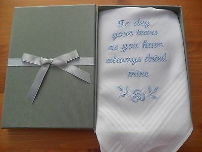 personalised dad  boxed  plain  handkerchief own message script font grey box