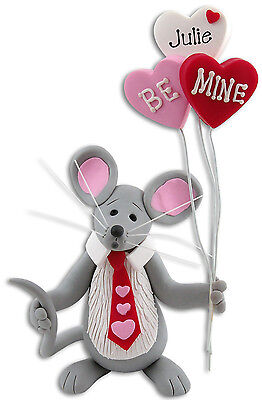 Personalized VALENTINE MOUSE Figurine Handmade Polymer Clay by Deb & Co.