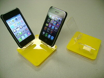 LOT 5 NEW STAND HOLDER CELL PHONE DISPLAY 2 in 1 YELLOW