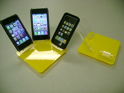 LOT 5 NEW STAND HOLDER CELL PHONE DISPLAY 3 in 1 YELLOW