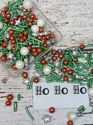45g HO HO HO XMAS SILVER RED GREEN SPRINKLES EDIBLE MIX CUPCAKE COOKIES CAKE POP