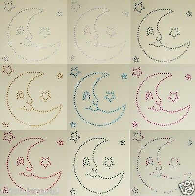 Moon Smiley Face Iron-On Hotfix Rhinestone Crystal Bead Tshirt Transfer Patch
