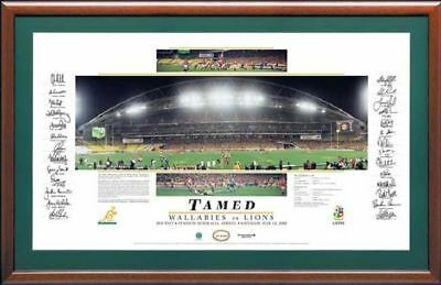 2001 Australian Wallabies vs British Lions Hand Signed & Framed Tamed Print COA