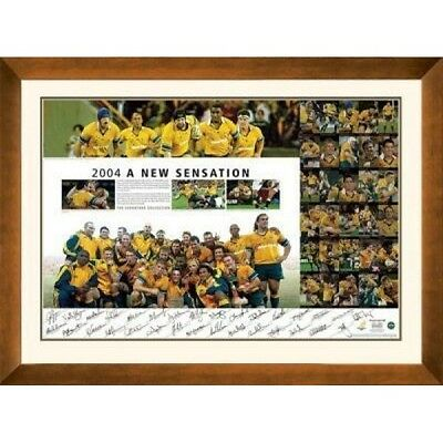 2004 Australian Wallabies Hand Signed & Framed A New Sensation Print Certificate