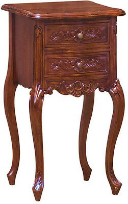 French Nightstand Solid Mahogany Bedside Table Antique Reproduction 2 Drawers