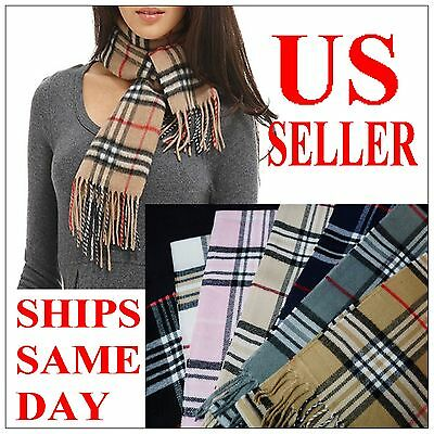 New100% Cashmere Feel Scarf Plaid Wrap Warm Camel Check Beige Unisex WINTER GIFT