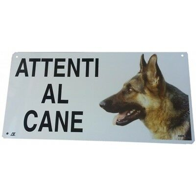 Cartello Attenti al Cane Pastore Tedesco in metallo